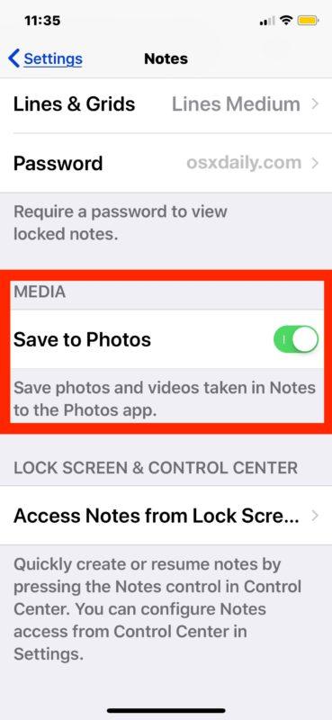 Cómo guardar todo el contenido multimedia capturado en la aplicación Notes en iOS
