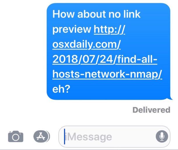 Un enlace colocado en una oración no mostrará la vista previa de la URL en Mensajes.