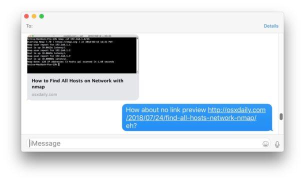 La vista previa del enlace está deshabilitada en los mensajes que se muestran en Mac