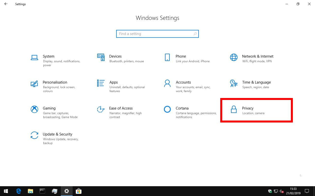 Categoría de configuración de privacidad de Windows 10 en la página de inicio de la aplicación de configuración
