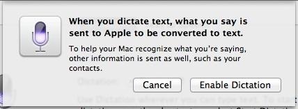 Confirmar Habilitar dictado en Mac OS X Mountain Lion