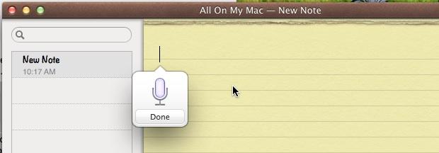 El dictado de Mac OS X en acción convierte la voz en texto