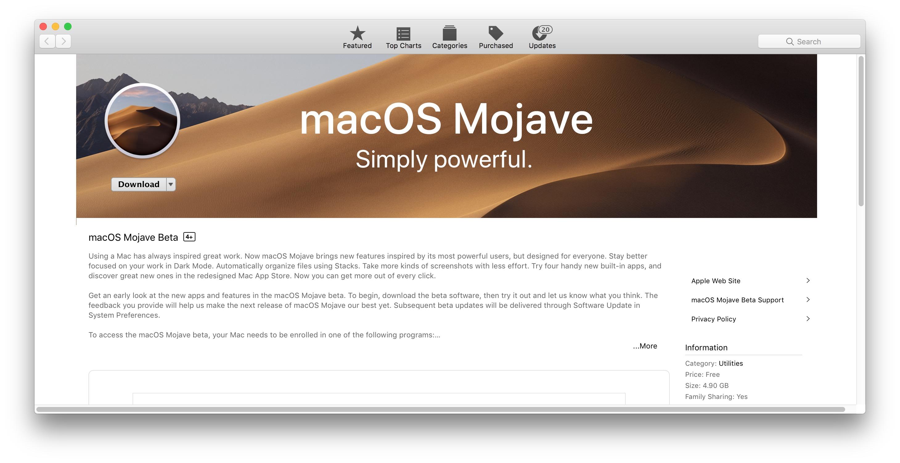 Descargar macOS Mojave beta pública
