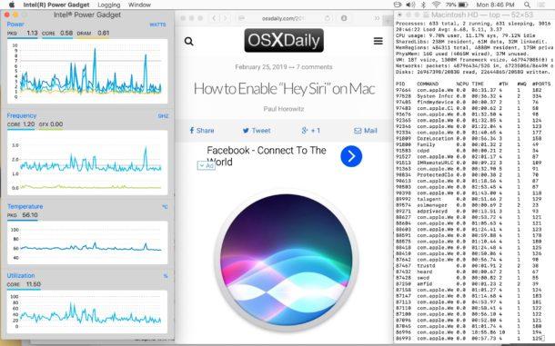 Intel Power Gadget se ejecuta junto con el navegador web y la ventana de la Terminal