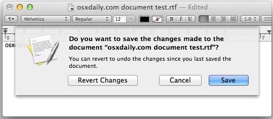 Solicite guardar archivos en lugar de usar Auto Save en OS X