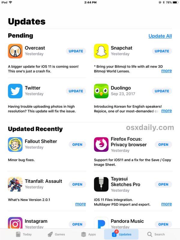 Pestaña de actualizaciones en la App Store