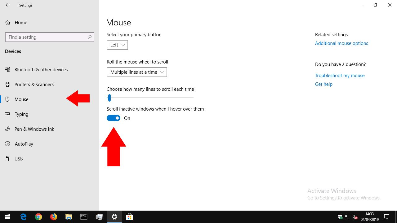 Desplazamiento de ventana inactivo en Windows 10