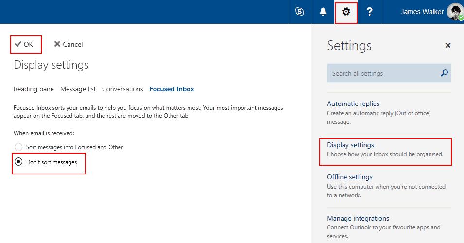 Captura de pantalla que muestra la bandeja de entrada enfocada en Outlook en la aplicación web de Outlook
