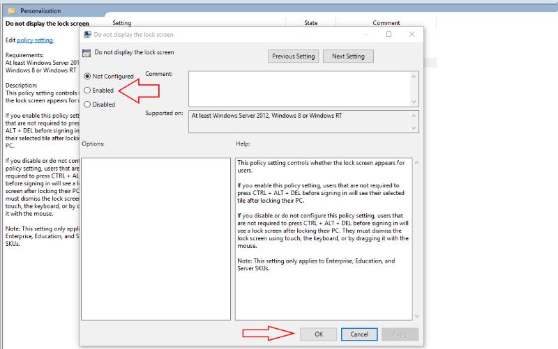 Captura de pantalla de la configuración de la política de grupo de Windows 10 para deshabilitar la pantalla de bloqueo