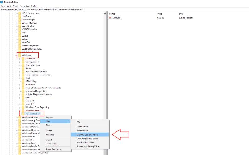 Captura de pantalla de la configuración del registro de Windows 10 para deshabilitar la pantalla de bloqueo