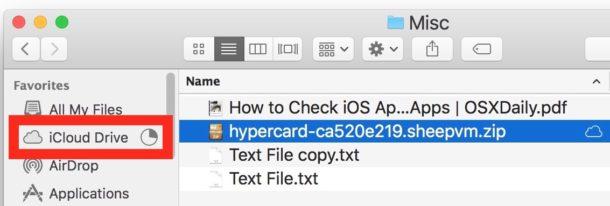 La barra lateral muestra un resumen de las cargas de iCloud Drive