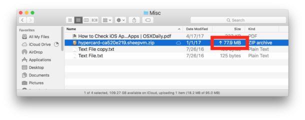 Ordenar el tamaño de la vista de lista muestra el estado de carga de iCloud Drive