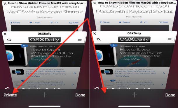 El modo de navegación privada está deshabilitado en iOS antes y después