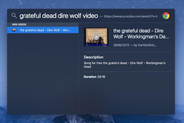 Truco de búsqueda de Mac Spotlight para videos en la web