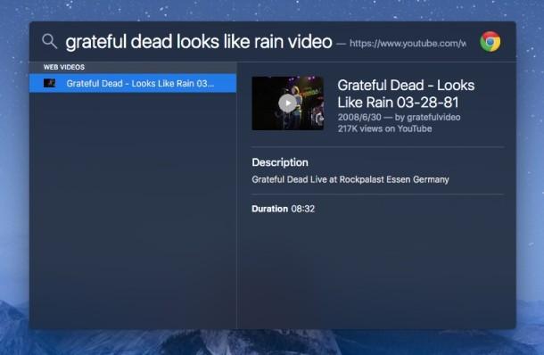 Busque un video musical o un video web específico con Spotlight en su Mac