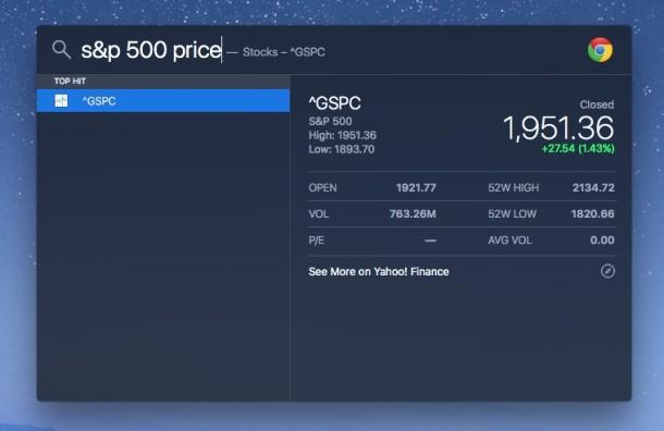 Obtenga el precio del índice S&P de Spotlight en Mac