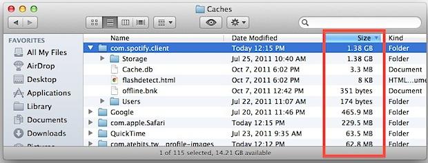 Ordena tu caché de Mac por tamaño