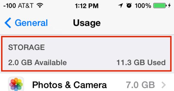 Ver el espacio disponible en iOS