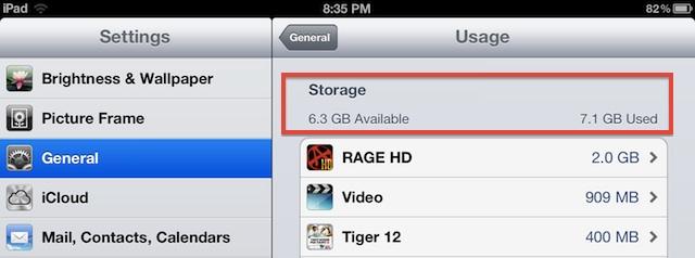 Compruebe cuánto almacenamiento hay disponible en iOS