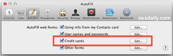 El autocompletado de la tarjeta de crédito de Safari está habilitado