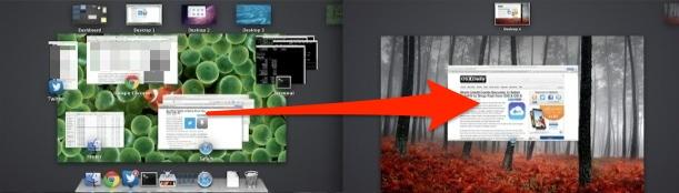 Arrastre ventanas, aplicaciones y escritorios a pantallas externas en Mission Control en OS X.