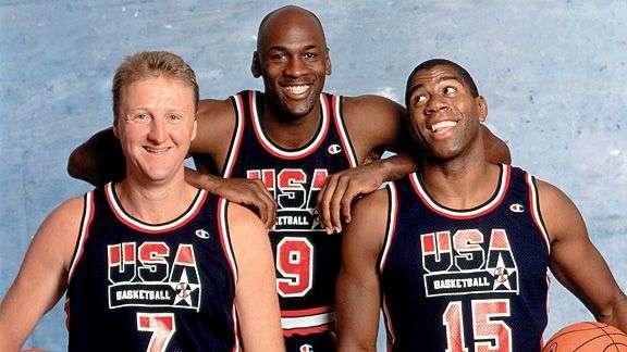 Michael Jordan, Larry Bird y Magic Johnson