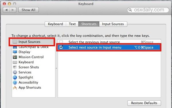 Configure el teclado para cambiar el idioma del teclado en Mac OS X.