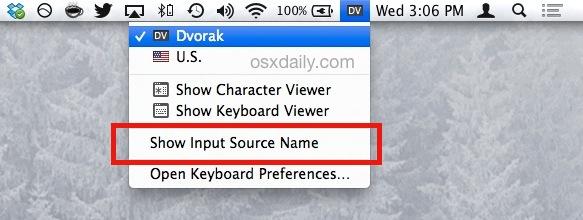 Indicador de escritura del idioma actual en OS X
