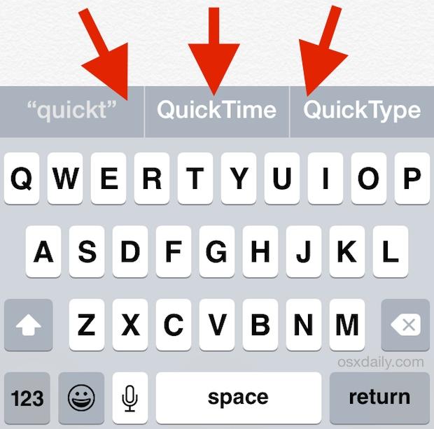 Barra de sugerencias de QuickType sobre el teclado de iOS