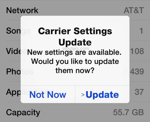 Actualizar la configuración del operador en un iPhone