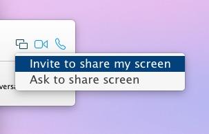 Invitar a compartir la pantalla, pedir compartir la pantalla