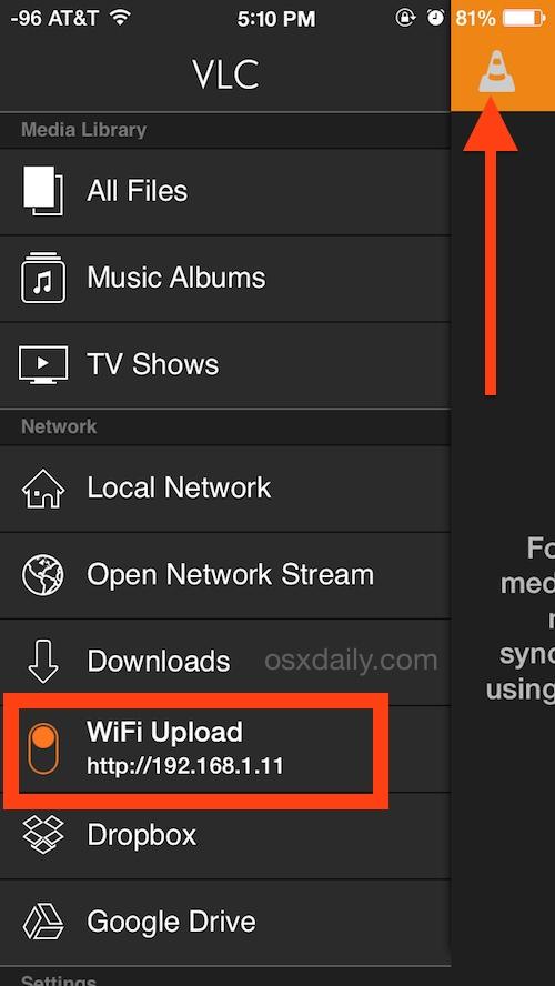 Habilite las capacidades de carga de video VLC Wi-Fi en iOS
