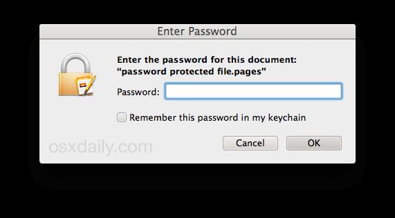Se requiere contraseña para abrir un archivo de iWork en Mac OS X.
