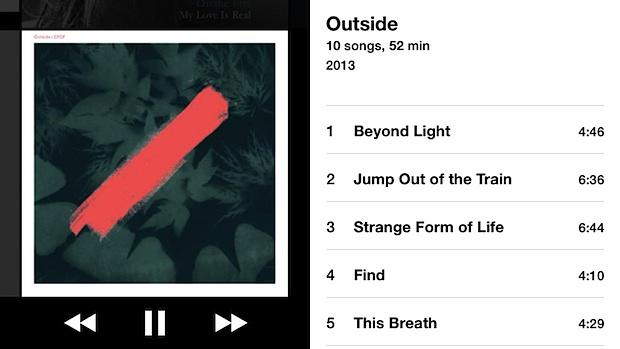 Portada del álbum para ver el reproductor de música en iOS