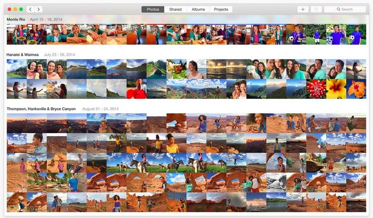La GUI estándar de Fotos es muy similar a iOS