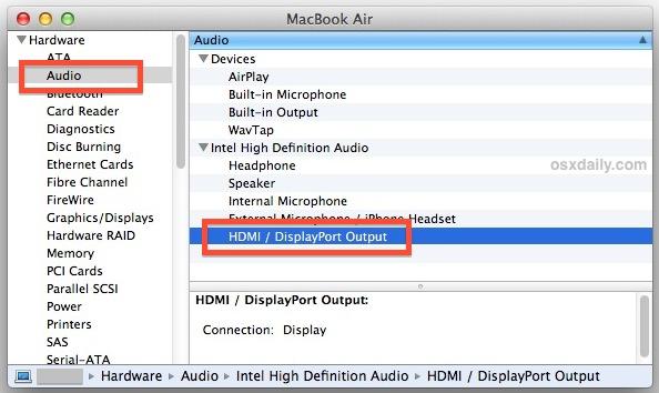 Cómo saber si una Mac admite salida de audio HDMI