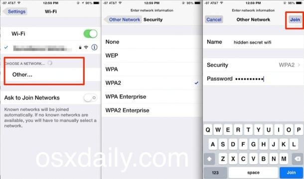 Únase a una red Wi-Fi oculta en iOS