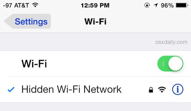 Conéctese a una red Wi-Fi oculta en iOS