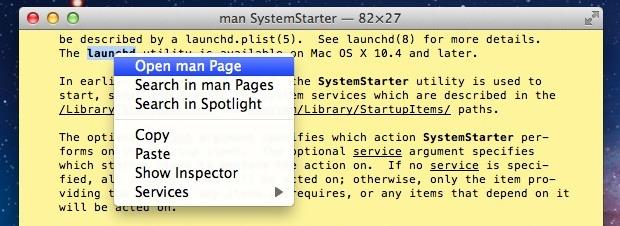 abrir una página de manual de Terminal a OS X