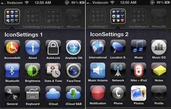 IconSettings es como SBSettings para iPhone y iPad