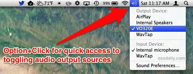 Cambie las fuentes de salida de audio en Mac OS X a sonido HDMI, altavoces, etc.