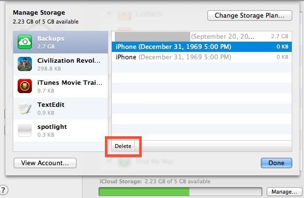 Administre las copias de seguridad y el almacenamiento de iCloud en Mac OS X.