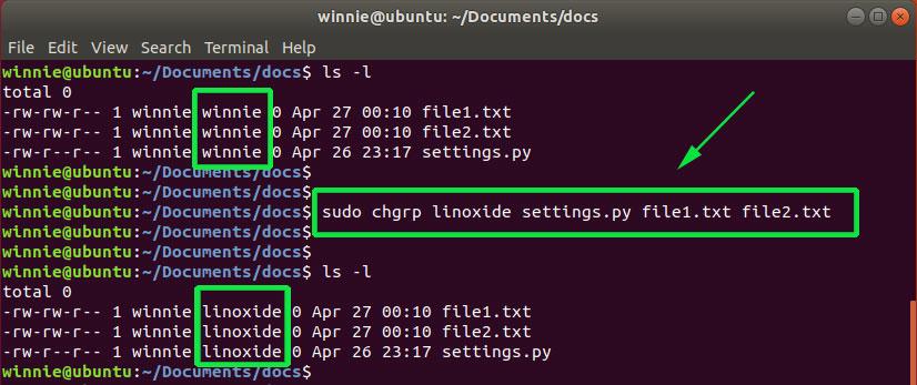 comando chgrp de Linux