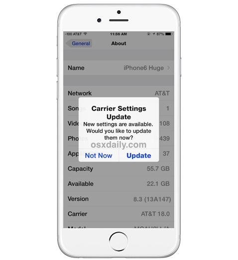 Actualizar la configuración del operador de iPhone disponible