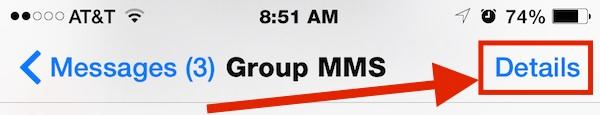 Toque detalles para desactivar el chat grupal