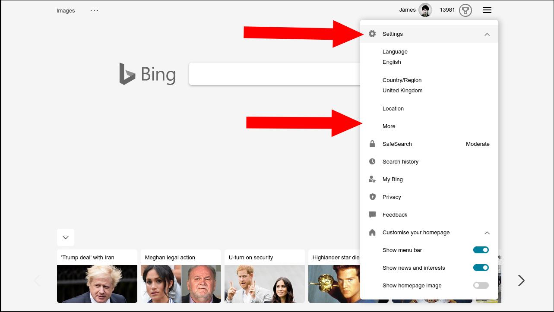 Acceder a la configuración de Bing desde la página de inicio de Bing