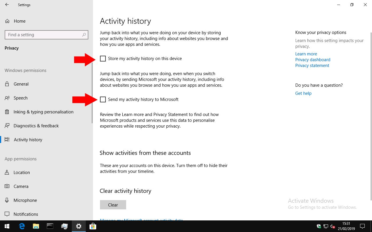 Captura de pantalla de la configuración del historial de actividades de Windows 10