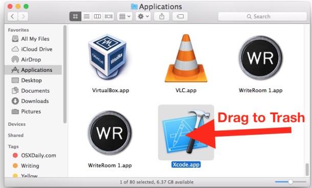 Desinstale Xcode de Mac OS X.