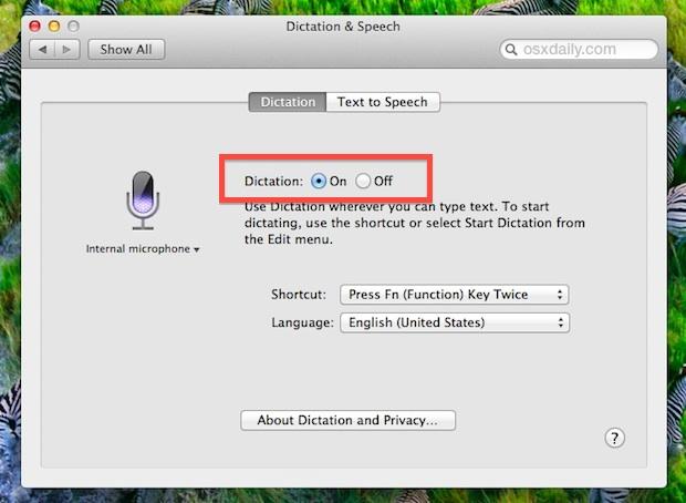 Cómo habilitar el dictado en Mac OS X.