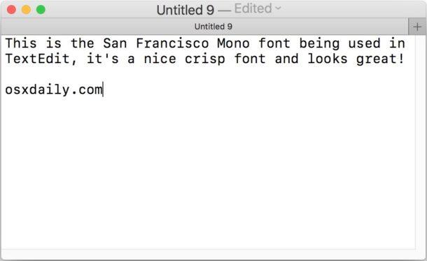 Fuente Mono SF en Mac OS
